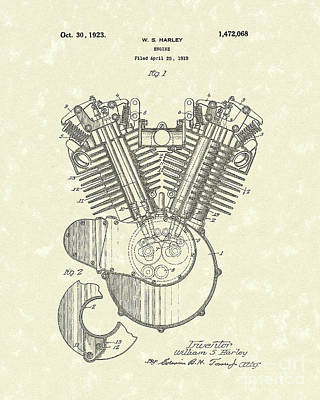 Drawing - Harley Engine 1923 Patent Art by Prior Art Design