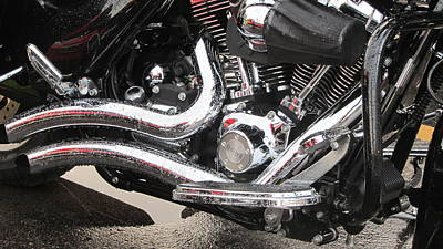 Photograph - Harley Engine Close-up Rain 2 by Anita Burgermeister