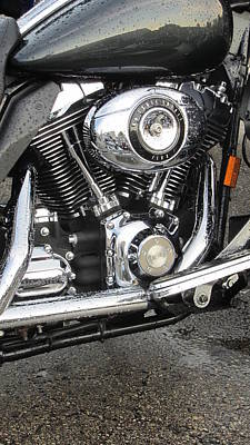 Photograph - Harley Engine Close-up Rain 3 by Anita Burgermeister