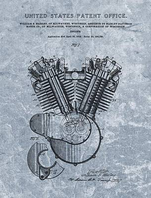 Tire Mixed Media - Harley Engine Patent Cool Blue by Dan Sproul