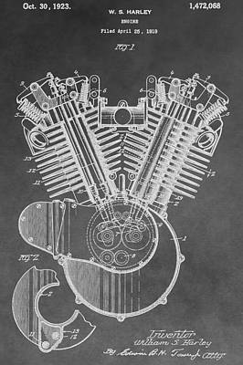 Digital Art - Harley Engine Patent by Dan Sproul