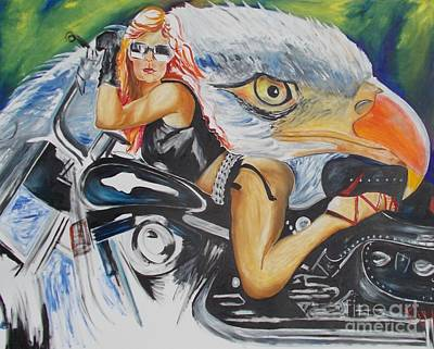 Art Print featuring the painting Harley Girl by PainterArtist FIN