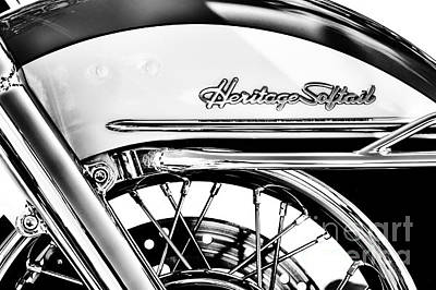 Spokes Photograph - Harley Heritage Softail Monochrome by Tim Gainey