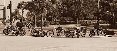 Photograph - Harley Line Up by Laura Fasulo