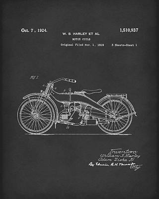 Drawing - Harley Motorcycle 1924 Patent Art Black by Prior Art Design