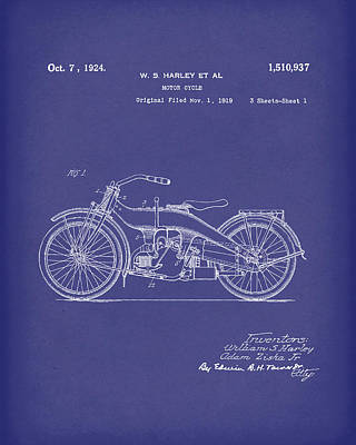 Drawing - Harley Motorcycle 1924 Patent Art Blue by Prior Art Design