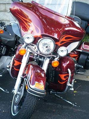 Photograph - Harley Red W Orange Flames by Anita Burgermeister