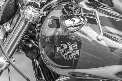 Photograph - Harley Tank Black And White by John McGraw