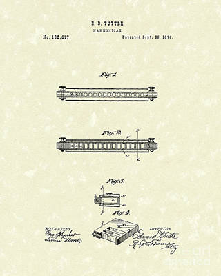 Drawing - Harmonica 1876 Patent Art by Prior Art Design
