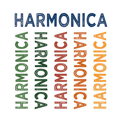Harmonica Cute Colorful Art Print