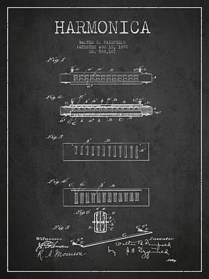 Harmonica Digital Art - Harmonica Patent Drawing From 1897 - Dark by Aged Pixel