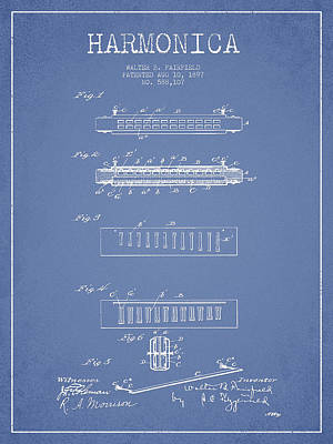Jazz Royalty-Free and Rights-Managed Images - Harmonica Patent Drawing from 1897 - Light Blue by Aged Pixel