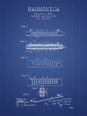 Harmonica Patent From 1897 - Blueprint Art Print