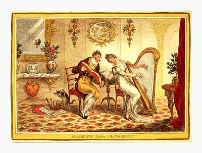 Old Sheet Music Drawing - Harmony Before Matrimony, Gillray, James by English School