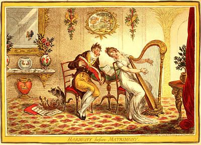 Goldfish Drawing - Harmony Before Matrimony, Gillray, James by Litz Collection