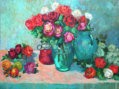 Pears Painting - Harmony In Red Roses by Diane McClary