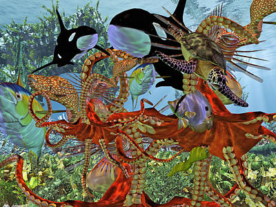 Octopus Digital Art - Harmony Under The Sea by Betsy Knapp