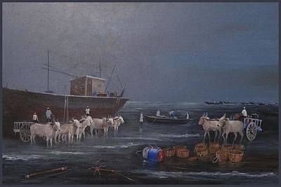 Bullock-cart Painting - Harne Beach-1 by Anand Gajarmal
