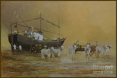 Bullock-cart Painting - Harne Beach by Anand Gajarmal