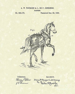 Harness Drawing - Harness 1885 Patent Art by Prior Art Design