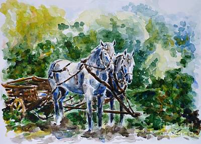 Painting - Harnessed Horses by Zaira Dzhaubaeva
