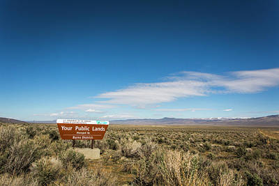 Alvord Desert Wall Art - Photograph - Harney County, Or, Usa. A Blm Sign by David Hanson
