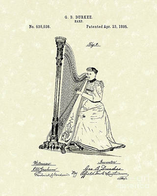 Drawing - Harp 1895 Patent Art by Prior Art Design