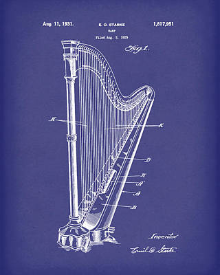 Drawing - Harp 1931 Patent Art Blue by Prior Art Design