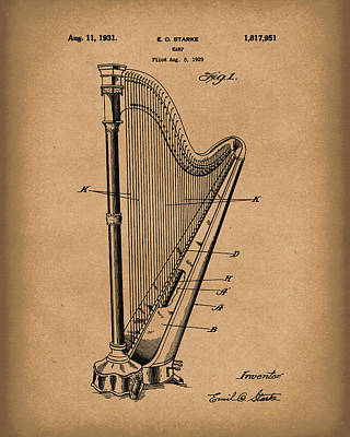 Drawing - Harp 1931 Patent Art Brown by Prior Art Design