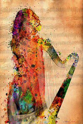 Harp Digital Art - Harp by Mark Ashkenazi