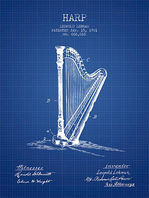 Harps Digital Art - Harp Music Instrument Patent From 1901 - Blueprint by Aged Pixel