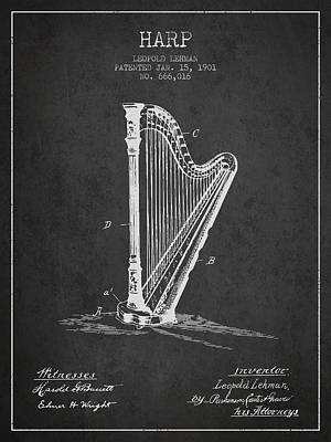 Harps Digital Art - Harp Music Instrument Patent From 1901 - Charcoal by Aged Pixel