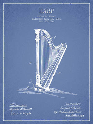 Harps Digital Art - Harp Music Instrument Patent From 1901 - Light Blue by Aged Pixel