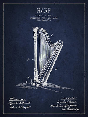Harps Digital Art - Harp Music Instrument Patent From 1901 - Navy Blue by Aged Pixel