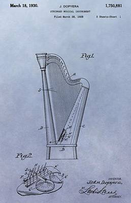 Harp Patent Art Print by Dan Sproul