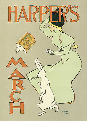 Harpers March 1894 Art Print by Edward Penfield