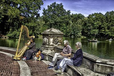 Harpist - Central Park Art Print by Madeline Ellis