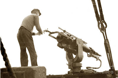 Photograph - harpoon gun Moss Landing whaling Monterey Bay circa 1920 by California Views Archives Mr Pat Hathaway Archives