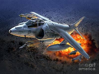 Iraq Digital Art - Harrier By Night by Stu Shepherd