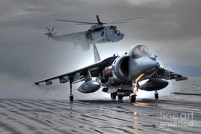 Harrier Gr9 Takes Off From Hms Ark Royal For The Very Last Time Art Print by Paul Fearn