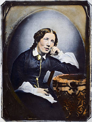 Harriet Beecher Stowe (1811-1896). American Abolitionist And Writer. Oil Over A Daguerrotype, C1852 Art Print by Granger