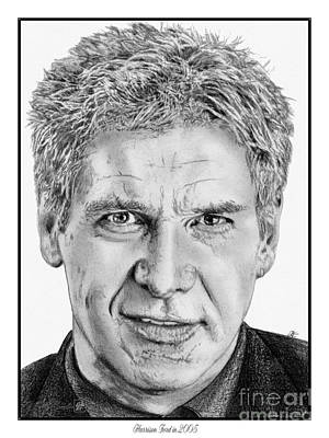 Greyscale Drawing - Harrison Ford In 2006 by J McCombie