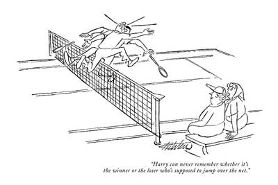 Tennis Drawing - Harry Can Never Remember Whether It's The Winner by Mischa Richter