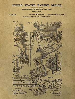 Houdini Mixed Media - Harry Houdini's Diving Suit Patent by Dan Sproul