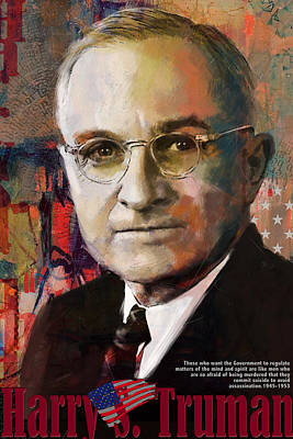 Cleveland Painting - Harry S. Truman by Corporate Art Task Force