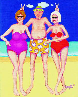 Painting - Funny Beach Women Man  by Rebecca Korpita
