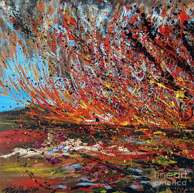 Painting - Harsh Desert Fire Australian Abstract by Roberto Gagliardi