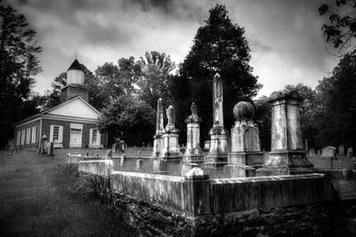 Photograph - Harshaw Chapel And Cemetery In Black And White by Greg and Chrystal Mimbs