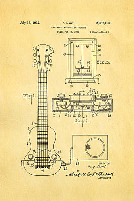 Hart Gibson Electric Guitar Pickup Patent Art 1937 Art Print by Ian Monk