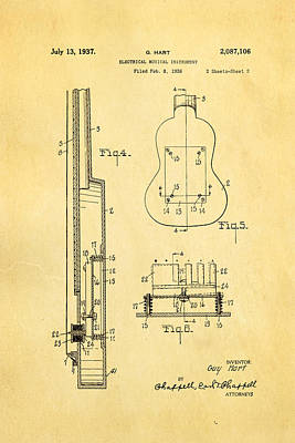 Hart Gibson First Electric Guitar 2 Patent Art 1937 Print by Ian Monk